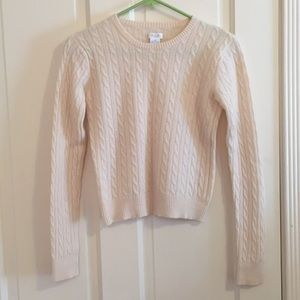Aqua cream color cropped cashmere sweater